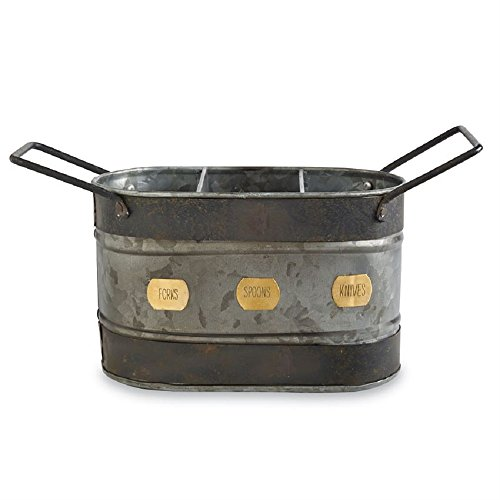 Mud Pie 4584019 Galvanized Tin Farmhouse Utensil Caddy, One Size, Silver