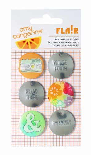American Crafts Amy Tangerine Yes Please Embrace Flair Badge Embellishments (Flair Badges)