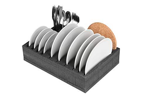 41IqiTaRDfL SCHAUMEX® Tellerhalter und Besteckhalter mit Platz für 12 Teller - kleine und große Teller auch Suppenteller - Für…