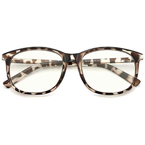 Slocyclub Unisex Blue Light Blocking Glasses Oversized Non-prescription Glasses Round Clear Lens Eyeglasses -