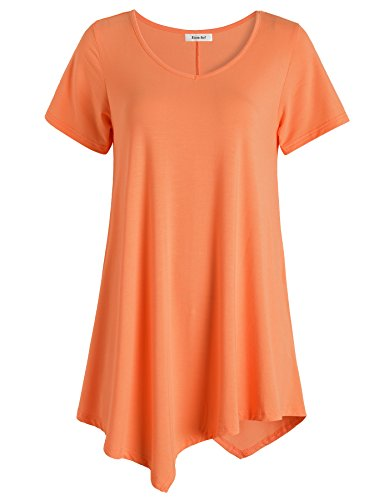 Esenchel Women's V-Neck Swing Shirt Casual Tunic Top for Leggings 4X Orange -