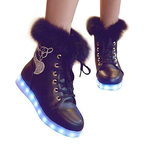 Matari Dames Led Oplichten Schoenen Usb Opladen Led Lichtgevende Sneakers Zwart