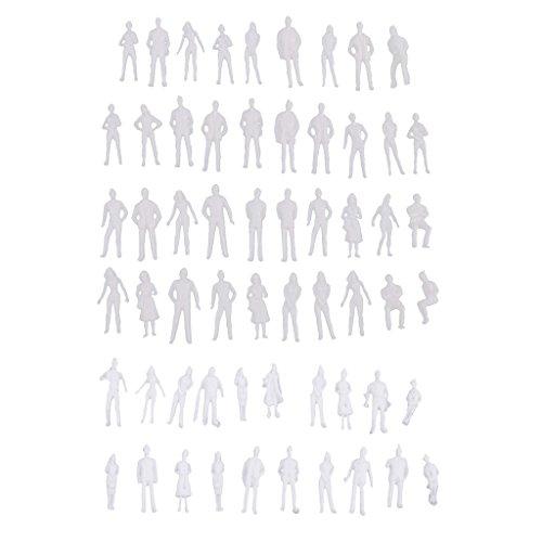 MagiDeal 20 Pièces Modèle Personnes Non Peinte Architecture Figure Miniature - Echelle 1/50