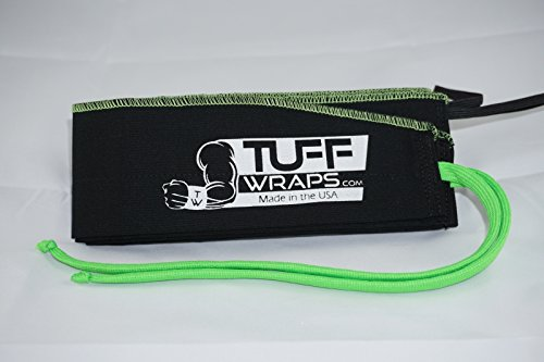 Green/Black Tuffwraps: Wraps for Crossfit, Olympic Weightlifting, Powerlifting. Innovative Thumb Loop for Easy Application.