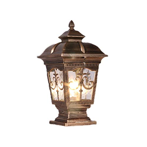 Wylolik Victoria Black Vintage Pillar Light Square Garden Gate Post Lamp Oil Rubbed Bronze Finish Glass Lantern Outdoor Fence Light Patio Yard Landscape Light The Way Park Lighting Night Lamp