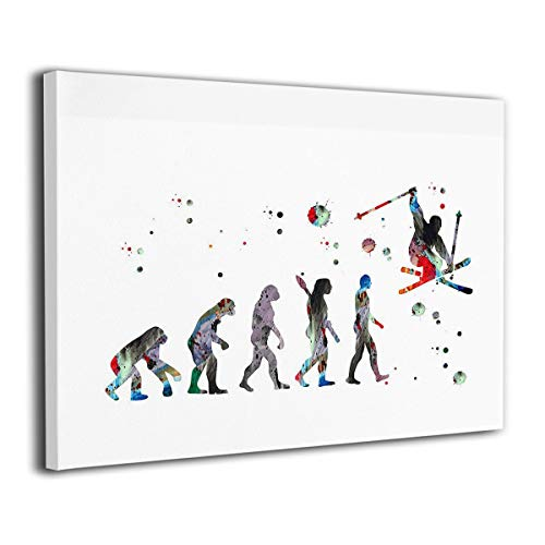 (Bestcolor Ski Watercolor Evolution of The Skier Wall Art Canvas Print Wooden Frame Abstract Paintings - Stretched and Framed Ready to Hang,16x20 Inches)