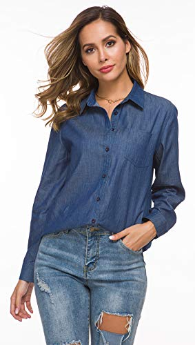 Tsher Light Blue Loose Shirt Long-Sleeved Tops Fashion Casual Button Cotton Denim Blouse 5005-1 (S, Blue Wash)
