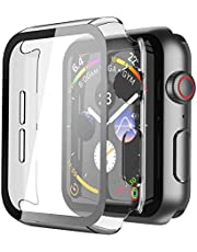 Misxi Hard PC Case with Tempered Glass Screen Protector Compatible with Apple Watch Series 6 SE Series 5 Series 4
