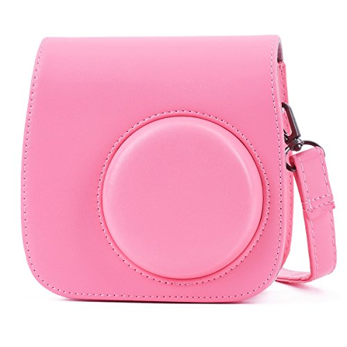 (Phetium Flamingo Pink Protective Case for Fujifilm Instax Mini 9 Mini 8 Mini 8+, Soft PU Leather Bag with Pocket and Removable Shoulder Strap(Flamingo)