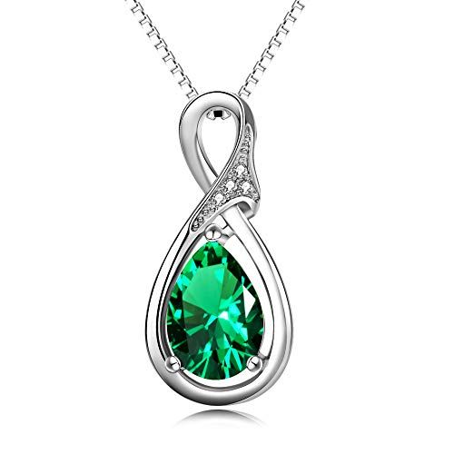 AOBOCO Sterling Silver Simulated Emerald Necklace Infinity Love Pendant Necklace with Swarovski Crystal,Birthday Gift for Women Girls