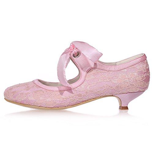 Elobaby Robe 5 Chaussures Bal Orteil Fermé pour en Pompes Hauts De 3 SoiréE Chaton Talon Satin Ivoire De Dentelle Mariage Talons Femmes Orteil De rrn7dCxH