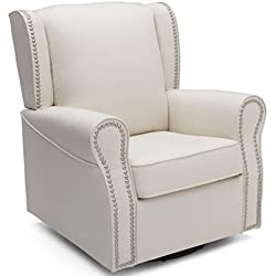 Delta Children Middleton Upholstered Glider Swivel Rocker Chair, Cream