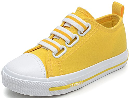 VECJUNIA Boy's Girl's Solid Candy Round Toe Comfortable Anti-Skid Fabric Elastic Strap Flats Sneakers (Yellow, 10.5 M US Little Kid) by VECJUNIA (Image #3)