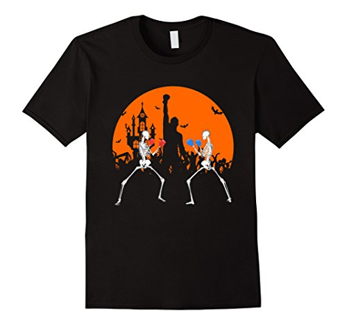 Mens Kickboxing skeleton halloween shirt Large Black