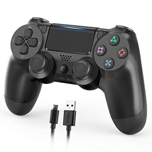 Wireless Controller Compatible with PS4,1000mAh Dual Shock Controller Gamepad Remote Joystick Replacement for Playstation 4/Pro/Slim with Audio Function, Motion Motors and Mini LED Indicator (Black)