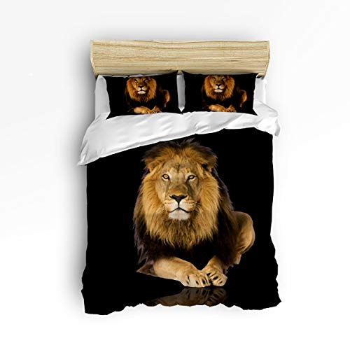 EZON-CH Full Size Soft Children Duvet Cover Set for Teen Kids Girls Boys,Black 3D Lion Animal Printing Bedding Sets,Include 1 Comforter Cover with 2 Pillow Cases