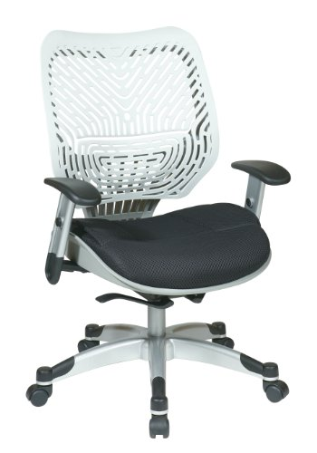 SPACE Seating REVV Self Adjusting SpaceFlex Ice Backrest Support and Padded Raven Mesh Seat with Adjustable Arms and Platinum Finish Base Managers Chair