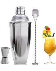 COMLIFE 3 pcs Utensilios de Bar para el Mezclador de Cócteles, Conjuntos para el Bar de Acero Inoxidable (550ML Coctelera, 15/30ML Taza con Doble Medida y Cuchara para Cócteles) Cocktail Shaker