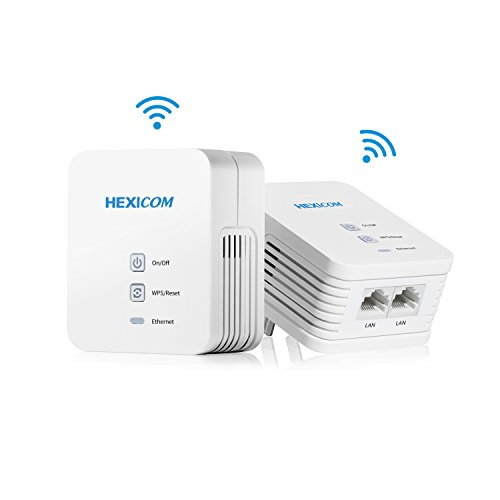 HEXICOM Av 200 Mbps Powerline Ethernet Adapter WiFi Kit Homeplug Bridge PLC 2 LAN Ports(HM200W/HS200W) by HEXICOM