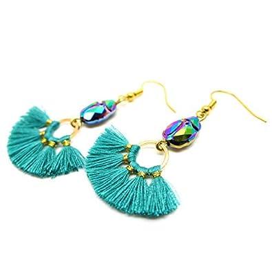 ce6f9f32fe47a Les Bijoux Acidulés - Boucles d'oreilles Scarabée en cristal et Pompon  turquoise - Bijou