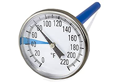 """SmartChoice Premium Stainless Steel Soil Thermometer for Backyard Composting - 1.5 Inch Diameter 0-220 Fahrenheit Dial, 5"""" Inch Temperature Probe for Indoor and Outdoor Gardening"""