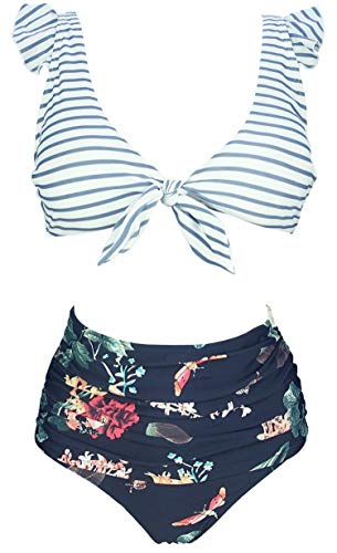 Bikini Tie - COCOSHIP Slategray White Striped & Bird Floral High Waist Ruched Bikini Set Tie Front Closure Top Ruffle Straps Cruise Swimwear 10
