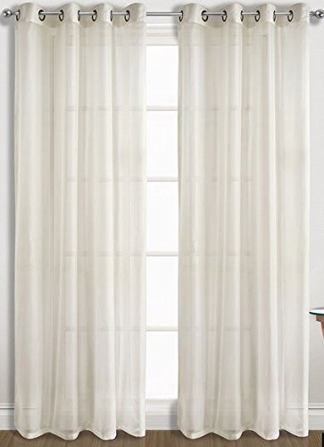 Sheer Window Curtain Panel Pair (2 Panels) 8 Grommets (Beige)