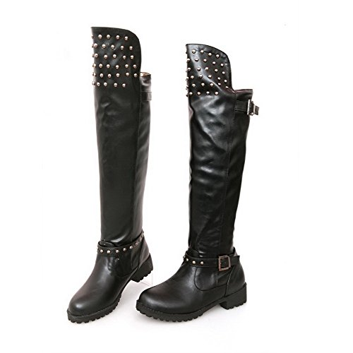 Short Boots Womens Round B Rivet Square Low and M US Plush 6 AmoonyFashion Heels Closed Solid Toe Black 5 with Heels zBdYzw