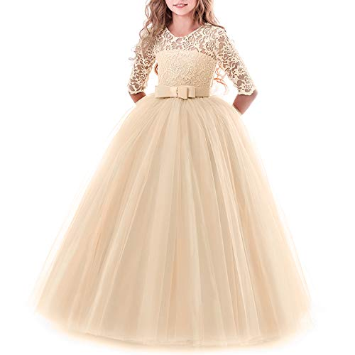 Toddler Girl's Embroidery Tulle Lace Maxi Flower Girl Wedding Bridesmaid Dress 3/4 Sleeve Long A Line Pageant Formal Prom Dance Evening Gowns Casual Holiday Party Dress Champagne 9-10 ()