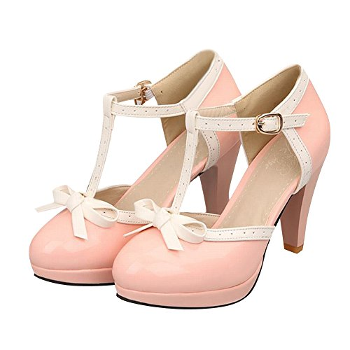 Carol Pink strap Womens Bows T Shoes Pumps Heel High UqTUa7