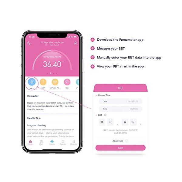 Femometer Termómetro basal - con APP (iOS y Android) en Español - Realiza Seguimiento de los Días Fértiles y Predice la Ovulación para la Planificación Familiar 4