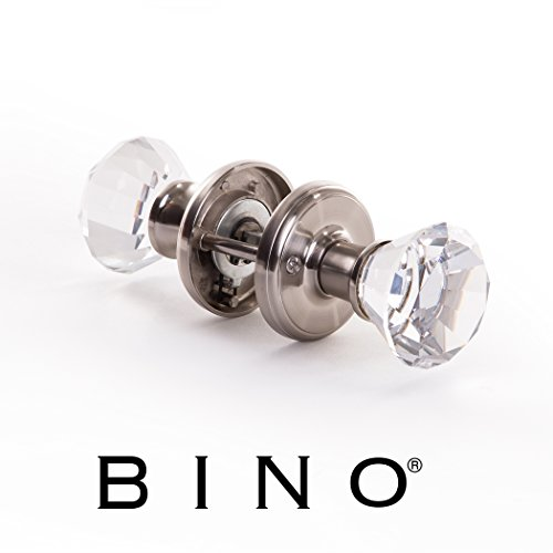 BINO Crystal Functional Interior Door Knobs Set - Satin Nickel - Crystal Door Knobs Interior Crystal Knobs Door Knob