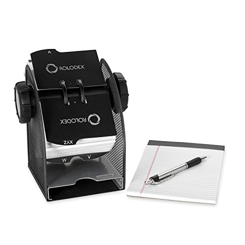 Rolodex Two-Tone Mesh Rotary Business Card File, 200-Card, Black and Silver (1734234) Photo #2