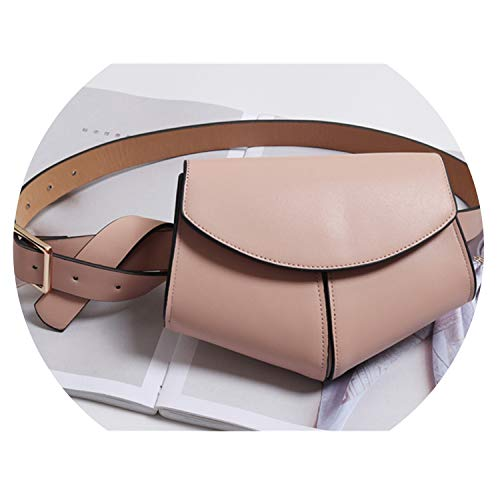 Women Serpentine Fanny Pack Ladies New Fashion Waist Belt Bag Mini Disco Waist Bag Leather Small Shoulder Bags 040301,Pink Waist Bag ()