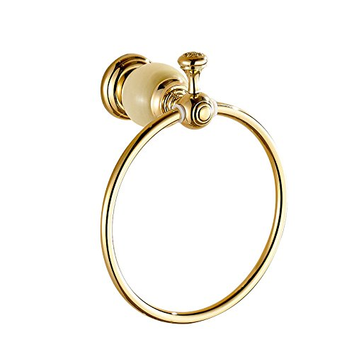 ETmla Copper round luxury marble gold towel ring bathroom towel hanging bracket by ETmla