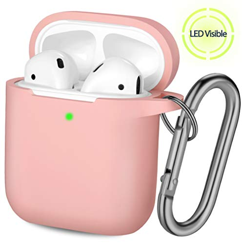 Hamile AirPods Case Protective Cover, [Front LED Visible] Shock Proof Soft Silicone Case Cover Skin Compatible for Apple AirPods 2 & 1, with Carabiner (Light Pink)