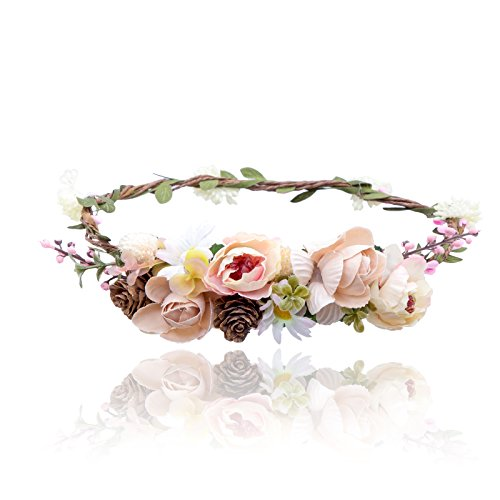 AWAYTR Bohemia Flower Crown Headband - Exquisite Pinecone Leaf Berry Flower Headband Flower Halo Wreath women (Light khaki+Light pink)]()