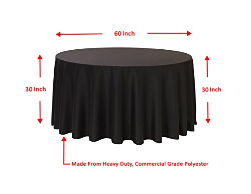Spring Rose(TM) 120 Inch Black Polyester Round Tablecloth (set of 10). by Spring Rose (Image #1)