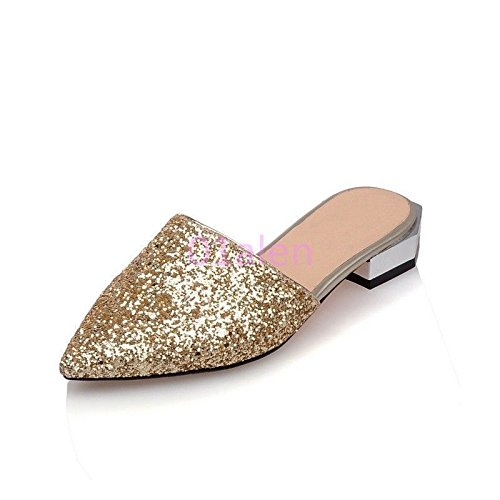 Sequins Mules Club Dress Shoes Lady's Apply Does Mule Slides Gold not Shiny Party Silver Slipper Pointy Toe vEgwwqBI