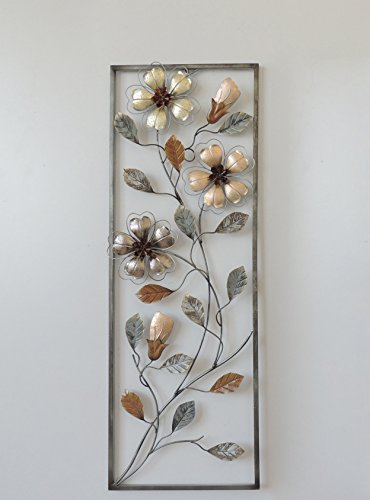 Metallic Wall Sculpture - New All American Collection Flower and Leaves Aluminum/Metal Wall Decor with Frame 12