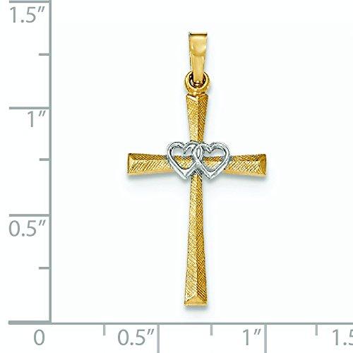 14 carats-Bicolore texturé et poli avec pendentif croix latine-JewelryWeb cœurs