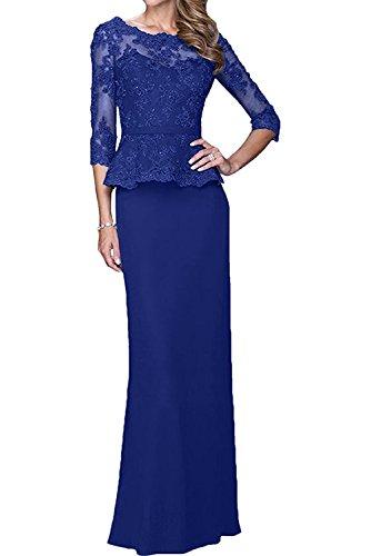 Abendkleider Lang Brautmutterkleider Blau Etuikleider Ballkleider Elegant Royal La Braut Weinrot mit mia Langarm Abschlussballkleider qxwT8AnX8