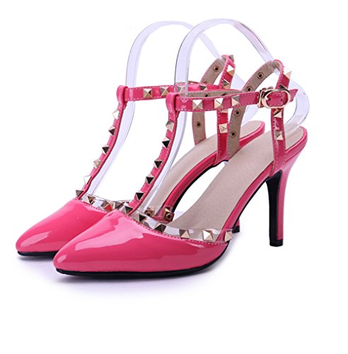 AmoonyFashion Womens Pointed Closed Toe High-Heels Solid Buckle Pumps-Shoes Pink BJBgLh8rm