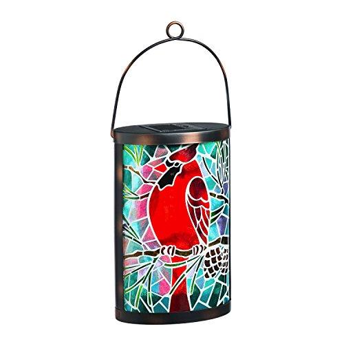 Night Light Cardinals Glass (New CreativeSolar Glass Lantern (Cardinal))