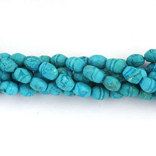 (GemAbyss Beads Gemstone 6 Strand Natural Turquoise Stablized Faceted Oval Beads Briolettes - Turquoise Beads 8mmx7mm-11mmx7mm 8 Inches Code-MVG-13711)