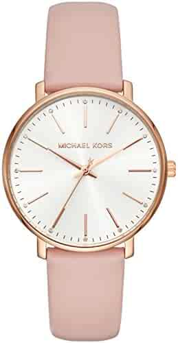 Michael Kors Women's Quartz Stainless Steel and Leather Casual Watch, Color:Pink (Model: MK2741)