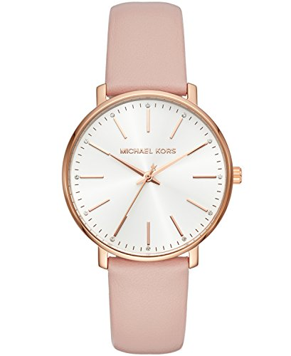 Michael Kors Women's Stainless Steel Quartz Watch with Leather Calfskin Strap, Pink, 18 (Model: MK2741) (Rose Gold Michael Kor Watch)