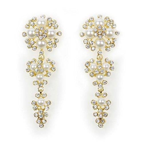 Superhai Fashion Flower Drop Pearl Earrings