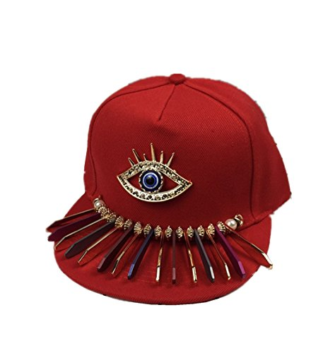 micrkrowen Children's Fashion Personality Hat Eye Decoration Hip-Hop Cap(Red) by micrkrowen