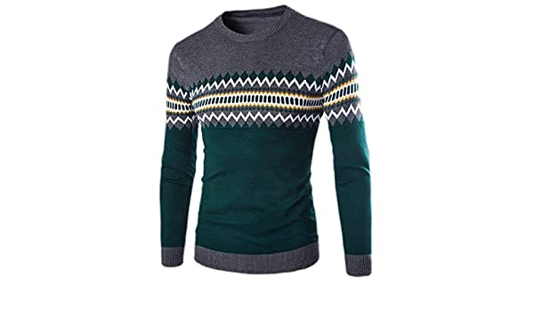 Fubotevic Mens Knitted Round Neck Color Block Regular Fit Pullover Sweater Jumper Top